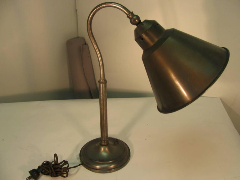 Bauhaus Pair of Mid-Century Steel Desk Table Lamps For Sale