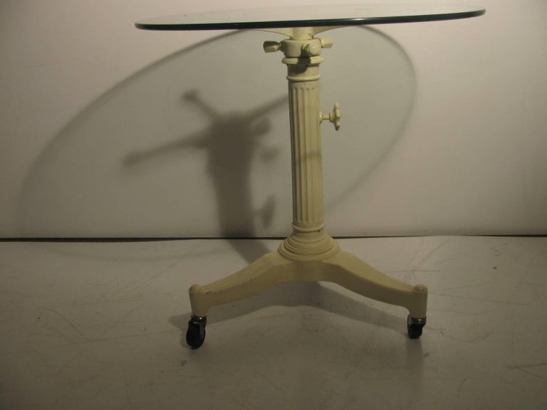 American Mid Century Cast Iron Industrial Cafe Table For Sale