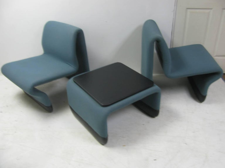 Mid-Century Modern Jan Ekselius Mid Century Modern Three-Piece Suite Lounge Chairs with a Table For Sale