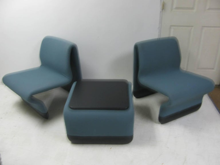 Fabric Jan Ekselius Mid Century Modern Three-Piece Suite Lounge Chairs with a Table For Sale