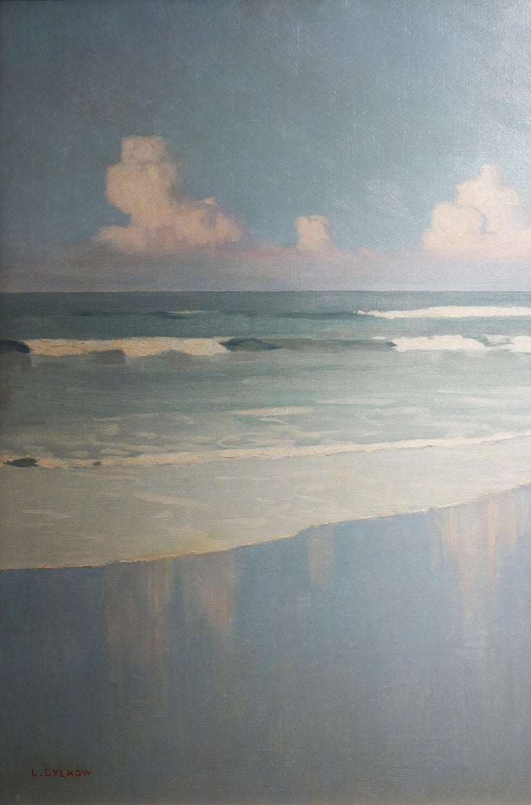 Oil painting on canvas by Ludwik Cylkow depicting a beach scene with waves and clouds painted in around 1920. Cylkow studied at the Academy of Fine Arts in Warsaw in 1901 and 1902, followed by the Academy Julian in Paris. After studying in Krakov,