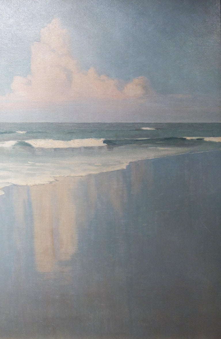 Edwardian Beach Scene with Waves and Clouds For Sale