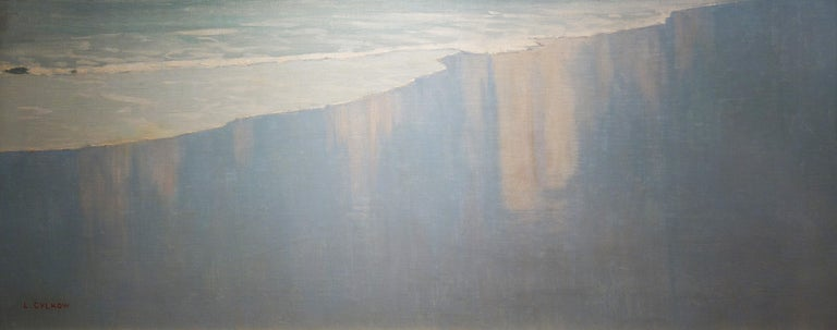 French Beach Scene with Waves and Clouds For Sale