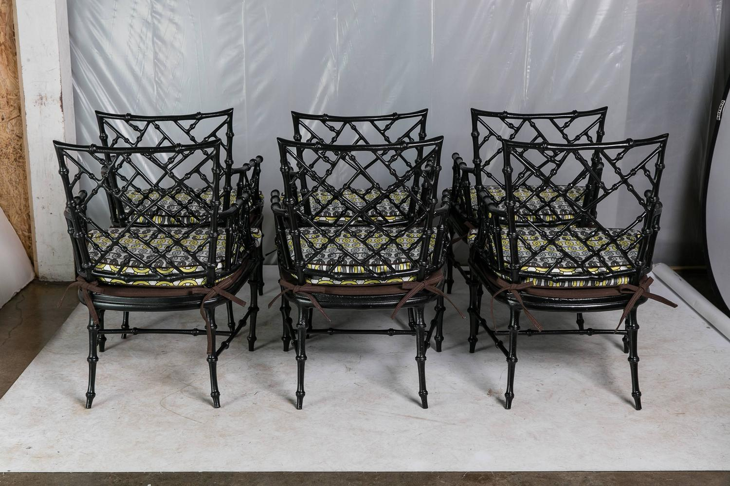 Faux bamboo metal patio chairs set of six for sale at 1stdibs for Metal patio sets for sale