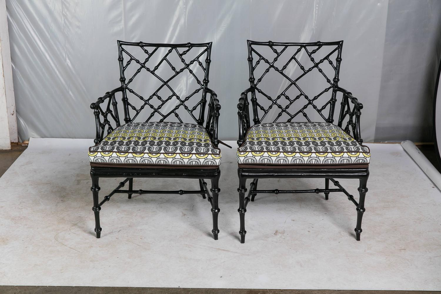 Faux Bamboo Metal Patio Chairs, Set Of Six For Sale At 1stdibs