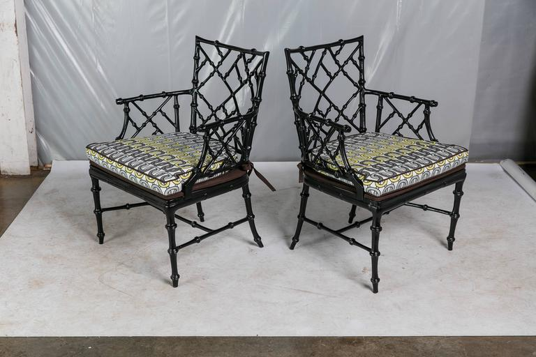 Faux Bamboo Metal Patio Chairs Set of Six at 1stdibs