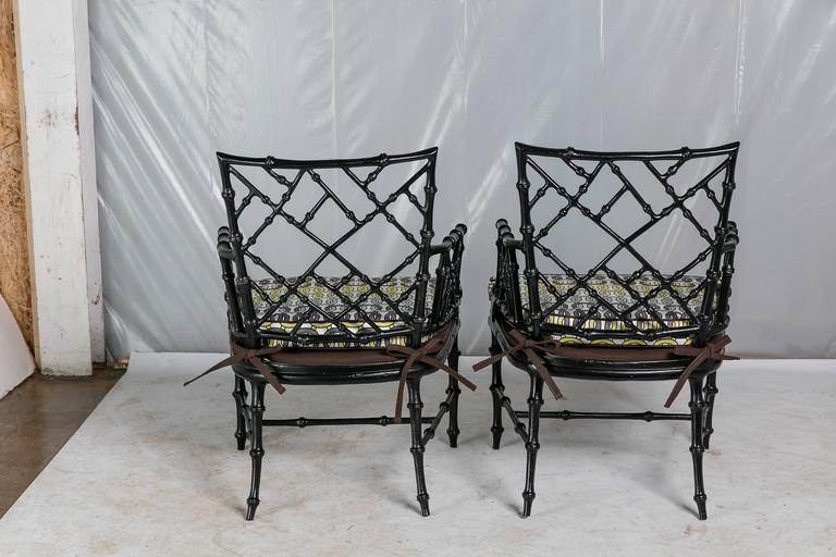 Patio Chairs Set Of 6: Faux Bamboo Metal Patio Chairs, Set Of Six At 1stdibs