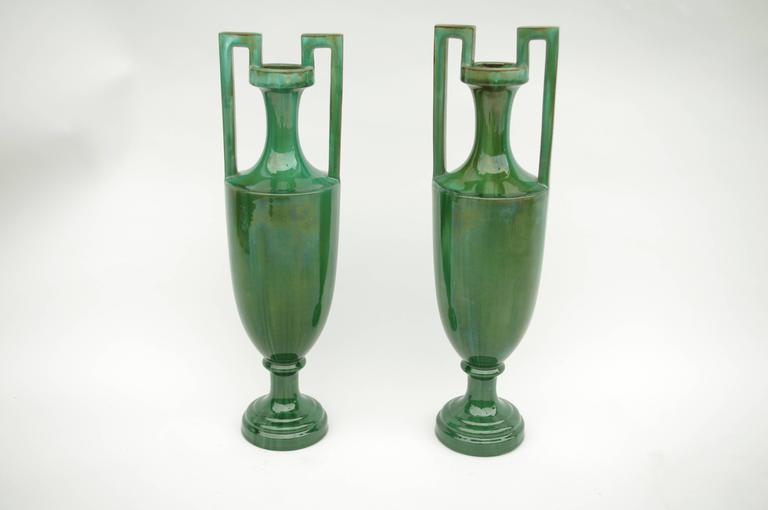 Neoclassical Pair of Green Ceramic Amphoras, circa 1900 For Sale