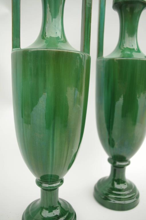 European Pair of Green Ceramic Amphoras, circa 1900 For Sale