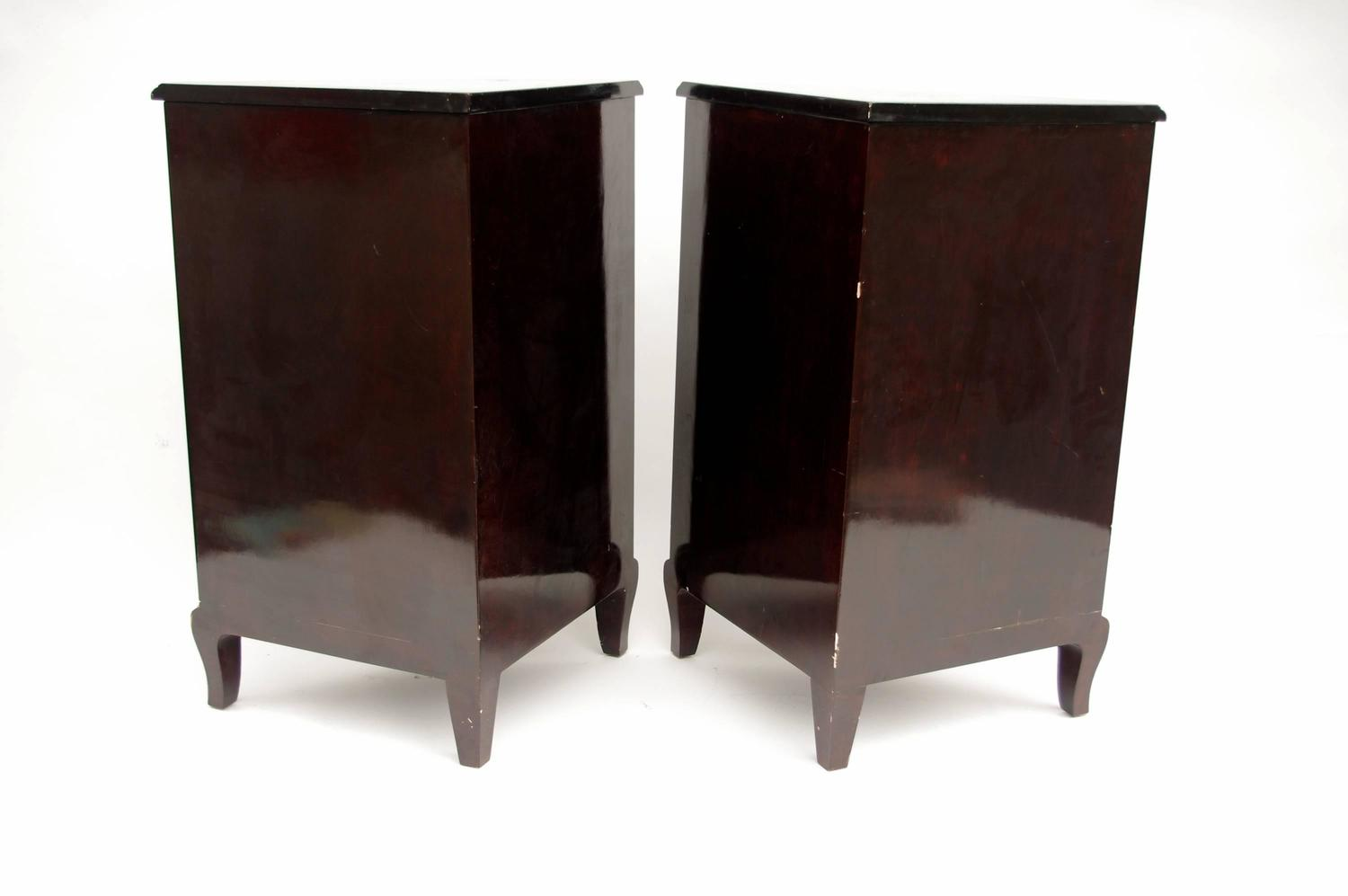Pair of chinese style black lacquer corner cupboards from for Chinese style furniture for sale