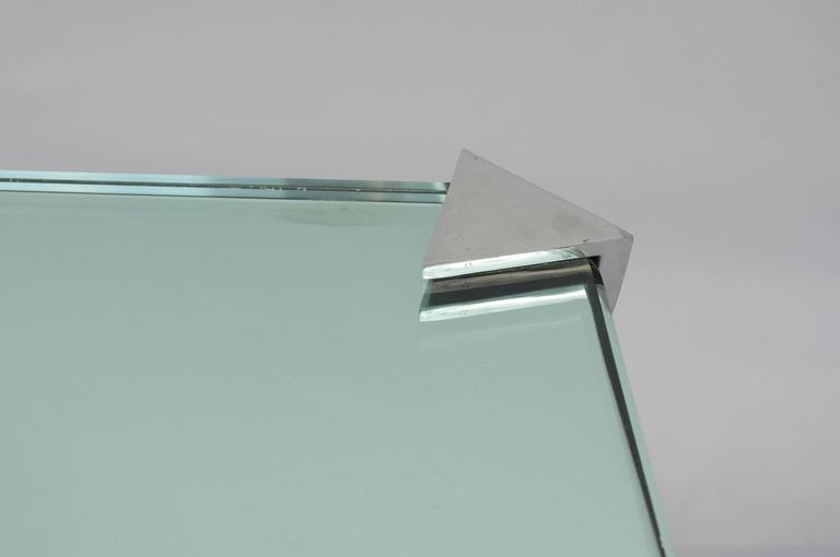 Aluminium and mirror top coffee table from 1980 for sale for Polir aluminium miroir