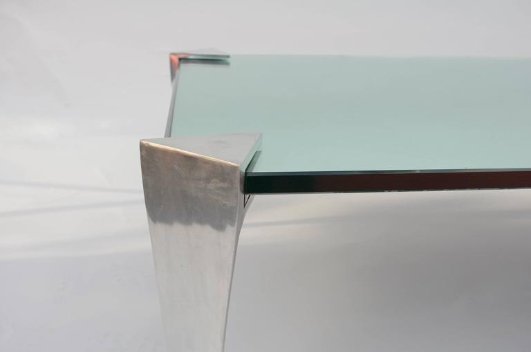 Aluminium and mirror top coffee table from 1980 for sale for Table basse miroir