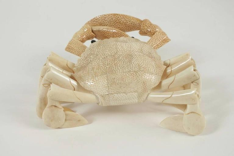 Crab Sculpture in Bone For Sale 1