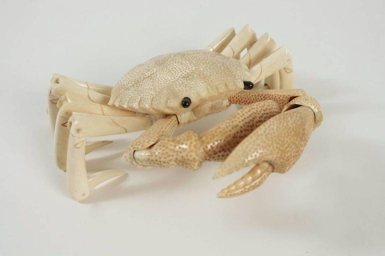 Crab Sculpture in Bone For Sale 3