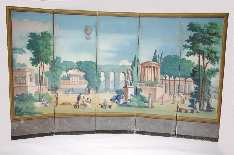 Hand-Painted French Directoire Period Painted Wallpaper, End of the 18th Century For Sale