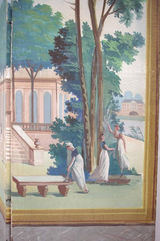 French Directoire Period Painted Wallpaper, End of the 18th Century For Sale 3