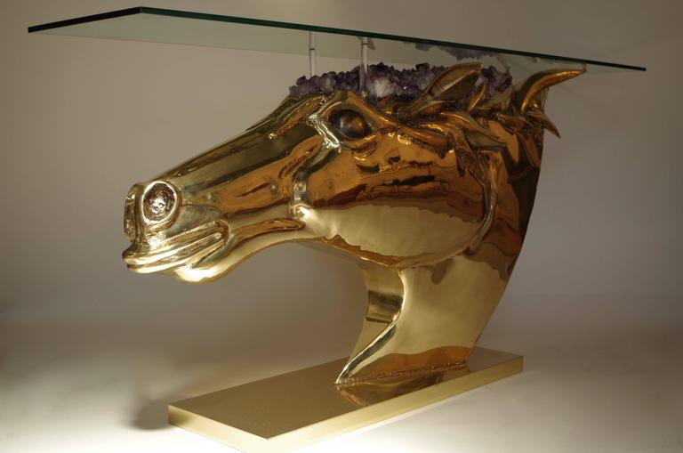 Horse Head Console in Gilt Brass and Amethyst by French Artist Duval Brasseur 2
