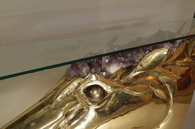 Horse Head Console in Gilt Brass and Amethyst by French Artist Duval Brasseur 3