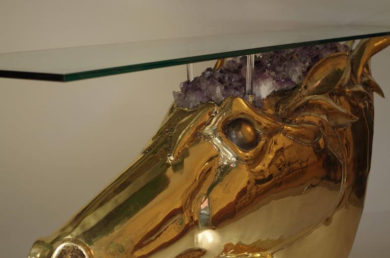 Horse Head Console in Gilt Brass and Amethyst by French Artist Duval Brasseur 6