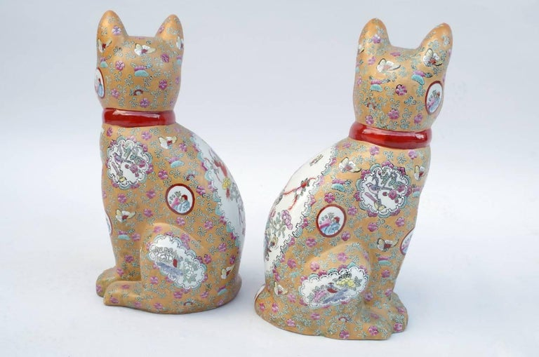 Pair Of Canton Style Porcelain Cats Sculptures Circa 1980 For Sale At 1stdibs