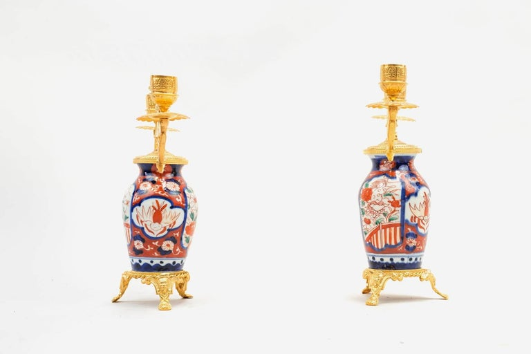 Pair of Porcelain Lampstands, Imari Decoration, Second Half of the 19th Century In Good Condition For Sale In Saint-Ouen, FR