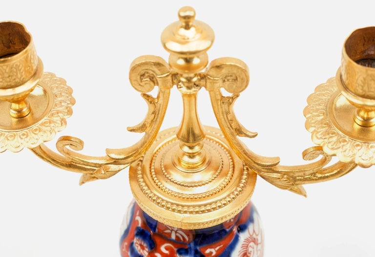 Late 19th Century Pair of Porcelain Lampstands, Imari Decoration, Second Half of the 19th Century For Sale