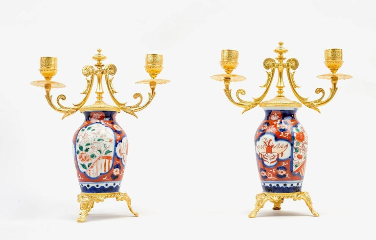 Pair of Porcelain Lampstands, Imari Decoration, Second Half of the 19th Century For Sale 2