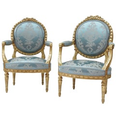 Pair of Louis XVI Style Giltwood Armchairs, Medallion Shape Backrest, circa 1880