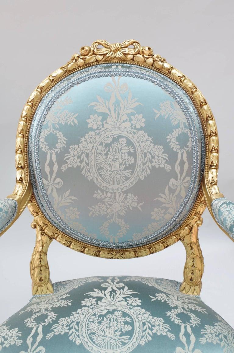 Pair of Louis XVI Style Giltwood Armchairs, Medallion Shape Backrest, circa 1880 2