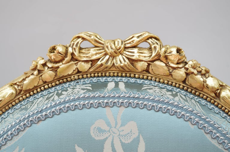 Pair of Louis XVI Style Giltwood Armchairs, Medallion Shape Backrest, circa 1880 3