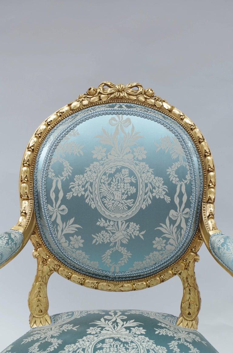 Pair of Louis XVI Style Giltwood Armchairs, Medallion Shape Backrest, circa 1880 4