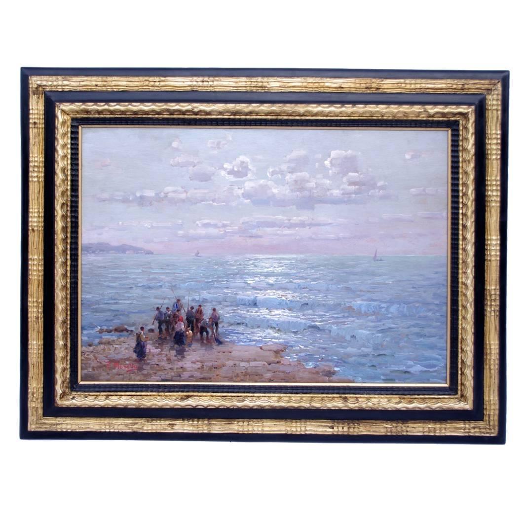 """""""Pescatori"""", Oil on panel, signed F.Morello"""