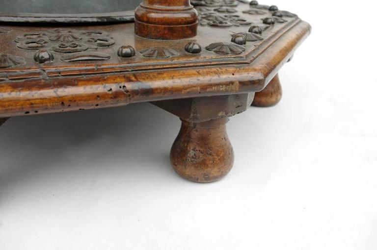 Rare 17th Century Spanish Walnut and Wrought Iron Brazier For Sale 1