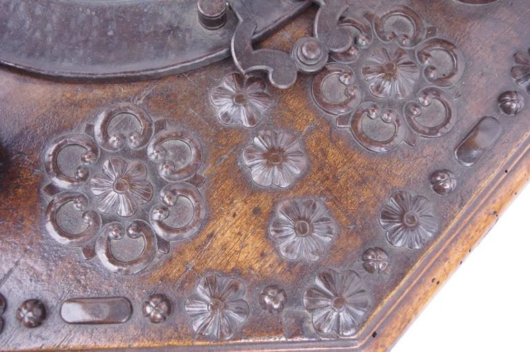 Rare 17th Century Spanish Walnut and Wrought Iron Brazier For Sale 2