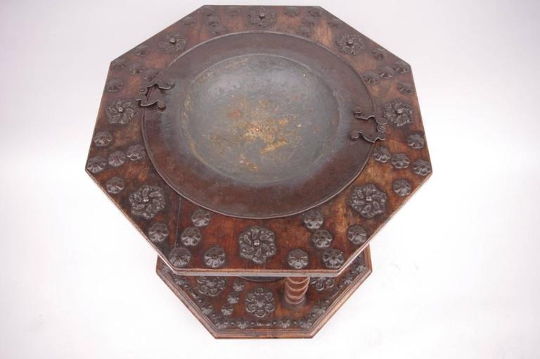Rare 17th Century Spanish Walnut and Wrought Iron Brazier 2