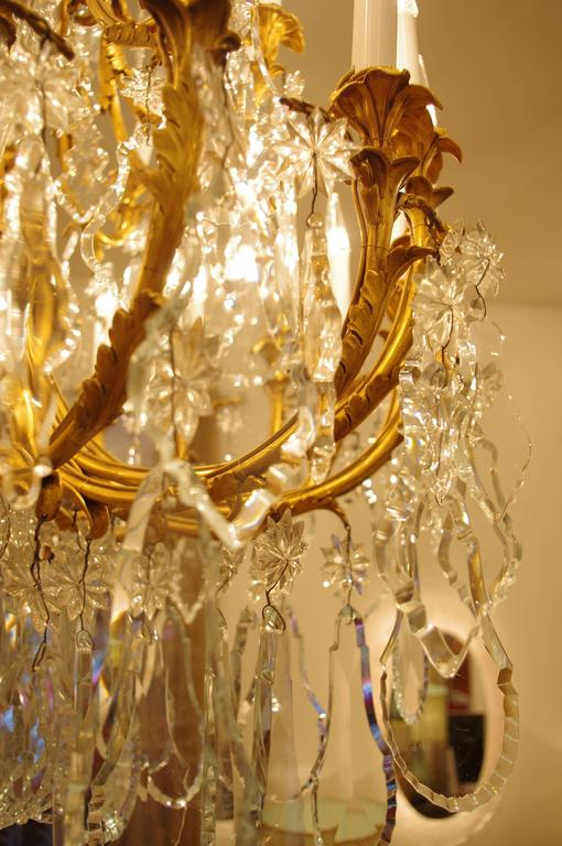 Large Baccarat Gilt Bronze Chandelier Circa 1880 For Sale