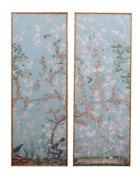 Set of Four High Wall Papers Framed, reproduction of Madame de Maintenon castle For Sale 3