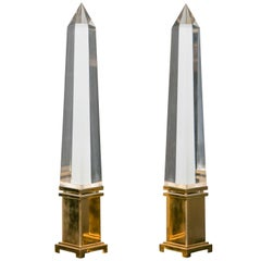 Fine Pair of Obelisks Lamps by Jansen