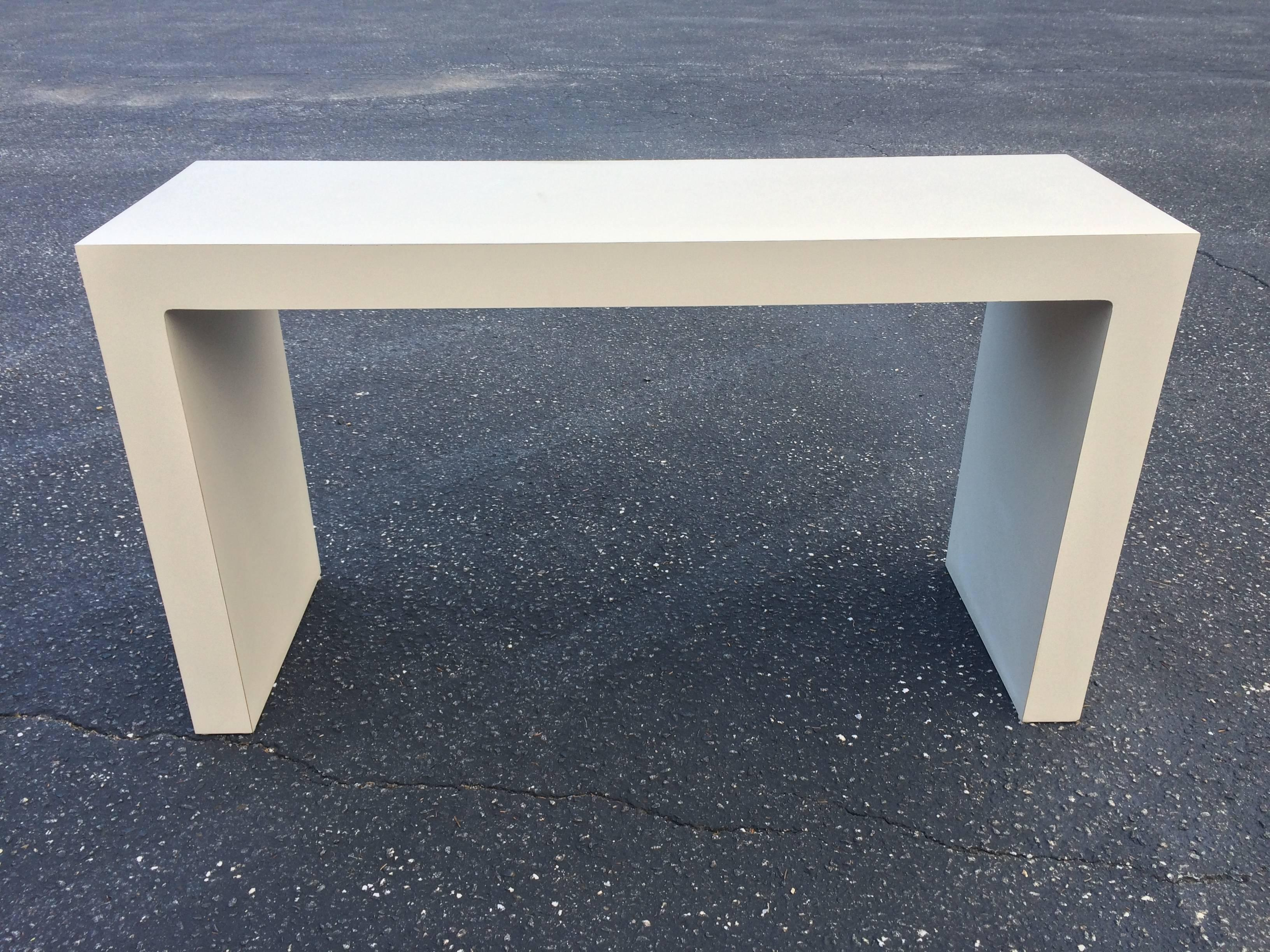 Captivating Mid Century Off White Parsons Table 2