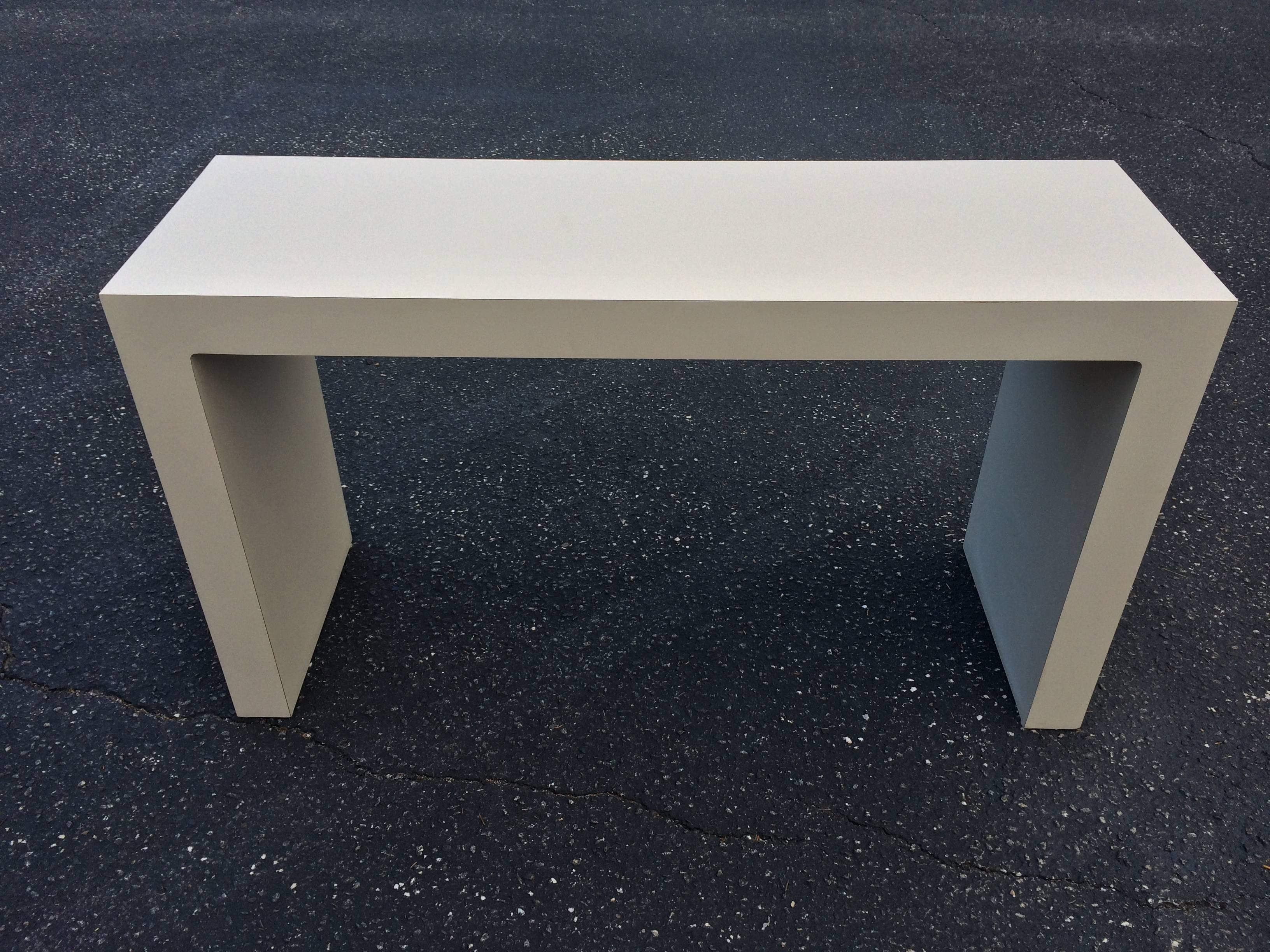 American Mid Century Off White Parsons Table For Sale