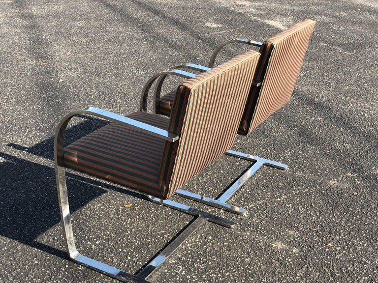 Steel Pair of Flat Bar Brno Chairs attributed to Ludwig Mies van der Rohe for Knoll For Sale