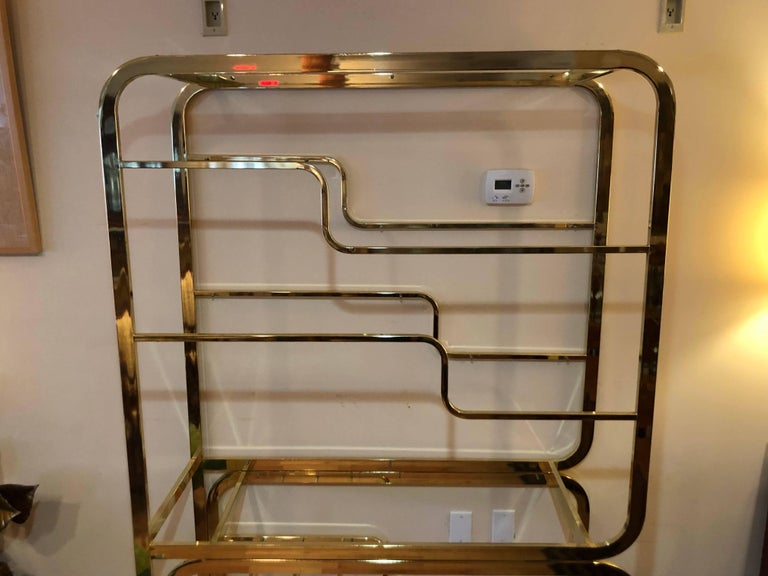 American Milo Baughman Design Institute of America Brass and Glass Etagere For Sale