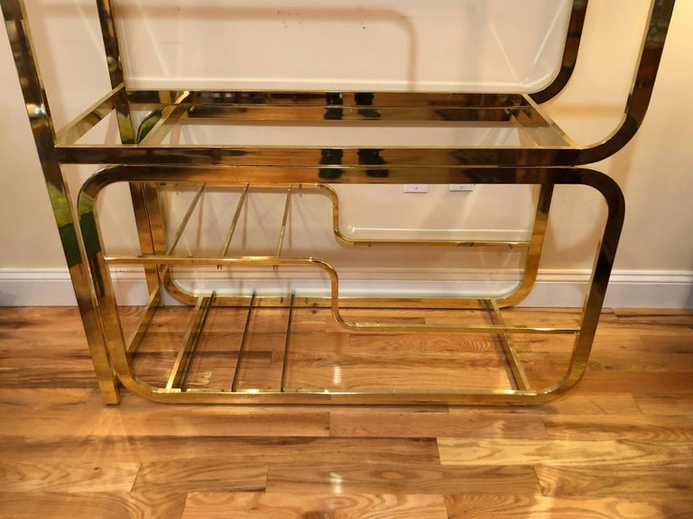 Milo Baughman Design Institute of America Brass and Glass Etagere In Good Condition For Sale In Redding, CT