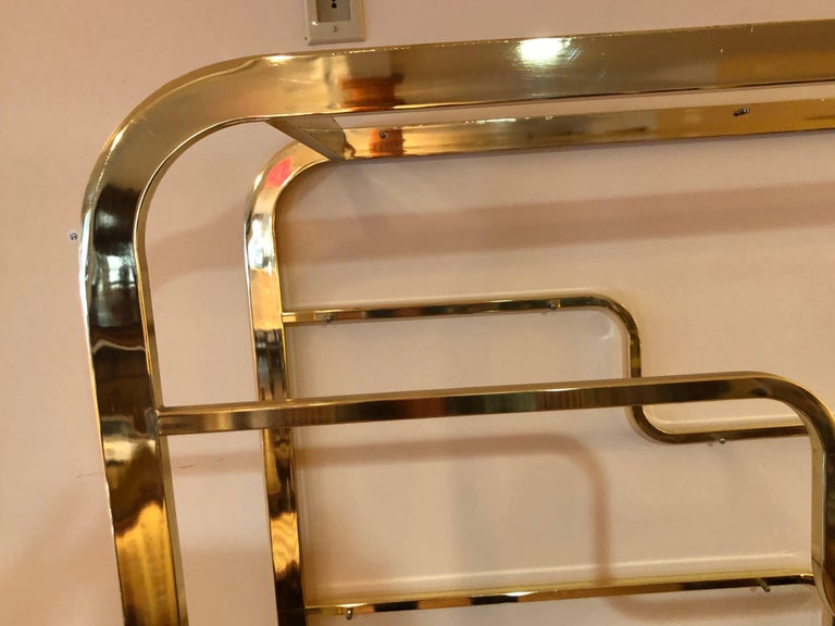 Milo Baughman Design Institute of America Brass and Glass Etagere For Sale 1