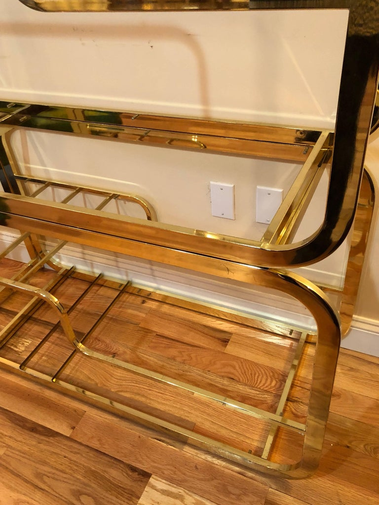 Milo Baughman Design Institute of America Brass and Glass Etagere For Sale 2