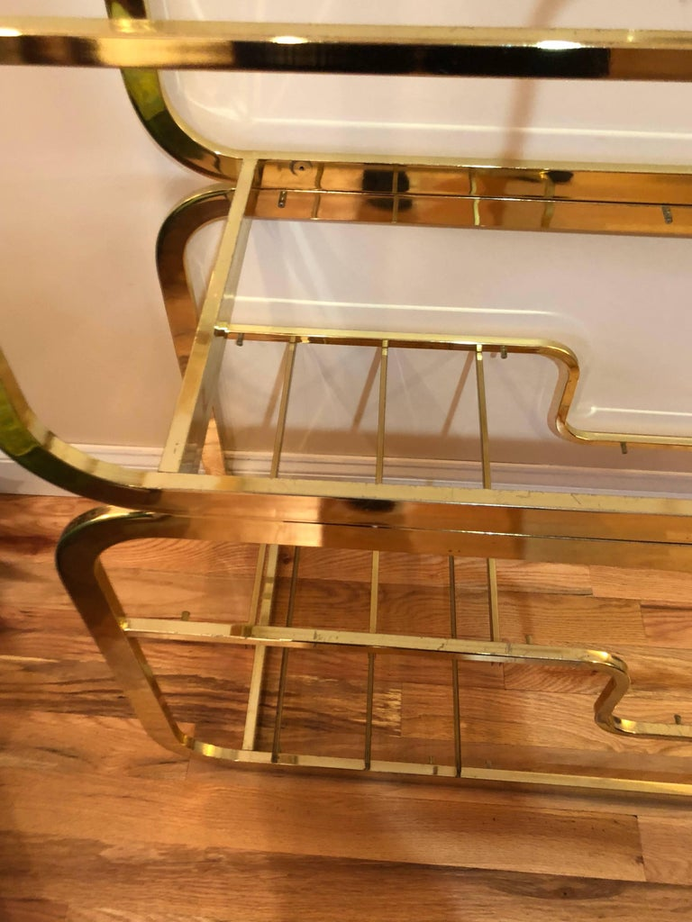 Milo Baughman Design Institute of America Brass and Glass Etagere For Sale 3