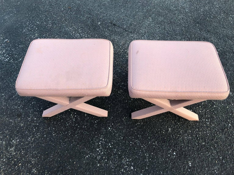Mid-Century Modern Pair of X-Base Stools or Ottomans in the Style of Billy Baldwin For Sale