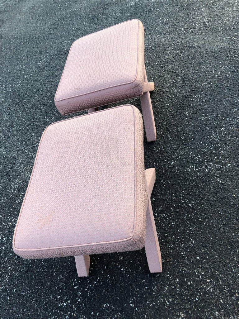 American Pair of X-Base Stools or Ottomans in the Style of Billy Baldwin For Sale
