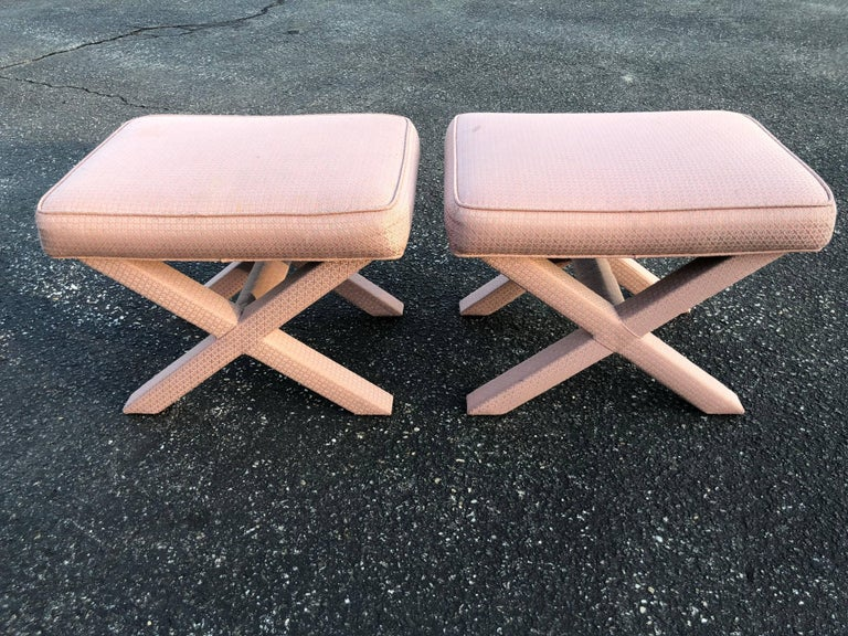 Pair of X-Base Stools or Ottomans in the Style of Billy Baldwin For Sale 3
