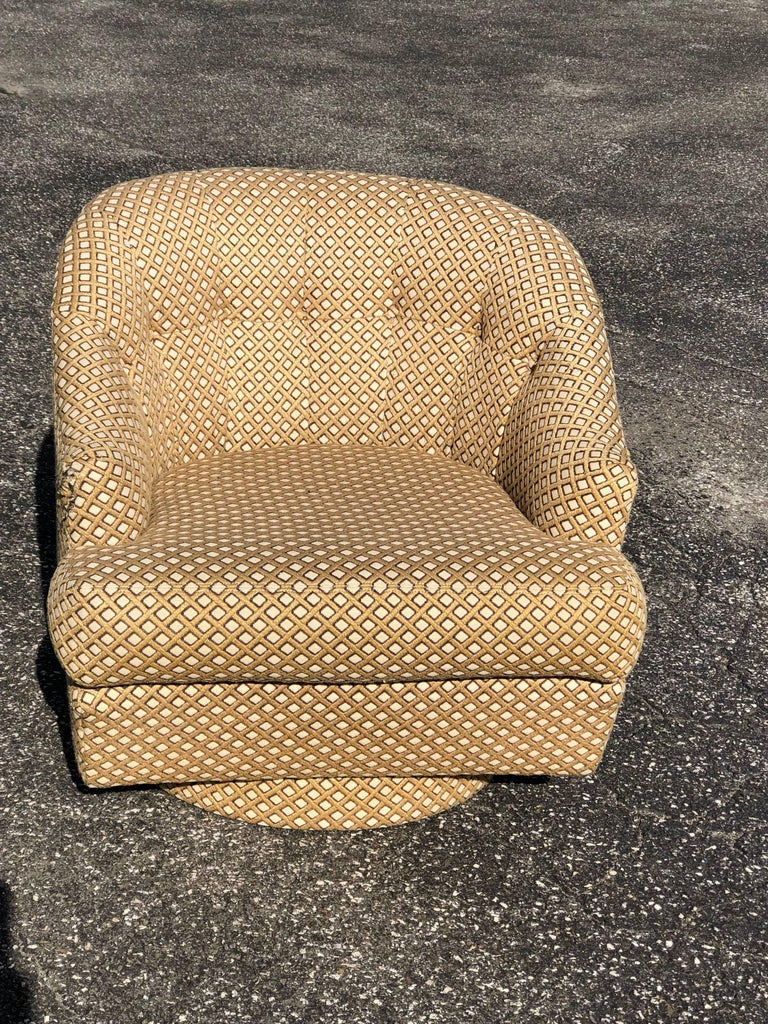 Barrel Back Swivel Club Chair With Ottoman By Directional Inspired Milo Baughman S Style